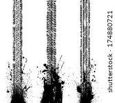 black tire track. tire track... | Shutterstock .eps vector #174880721