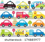 transportation   cars  trucks ... | Shutterstock .eps vector #174885977