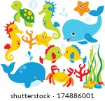 under the sea  fish and sea life | Shutterstock .eps vector #174886001