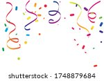 colorful confetti and ribbon on ... | Shutterstock .eps vector #1748879684