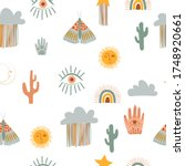 cute kids seamless pattern with ... | Shutterstock .eps vector #1748920661