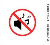 traffic road sign no horn in... | Shutterstock .eps vector #1748958851
