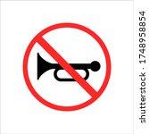 traffic road sign no horn in... | Shutterstock .eps vector #1748958854