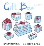 vector gift box collection with ... | Shutterstock .eps vector #1748961761