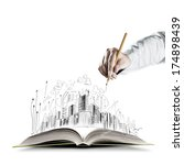 opened book and hand drawing... | Shutterstock . vector #174898439