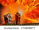firefighters fighting fire... | Shutterstock . vector #174898877