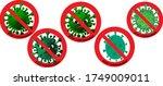 stop corona  prohibit sign ...   Shutterstock .eps vector #1749009011