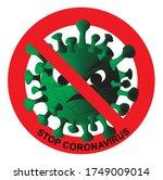 stop corona  prohibit sign ...   Shutterstock .eps vector #1749009014