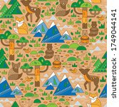 wild animals seamless pattern.... | Shutterstock .eps vector #1749044141