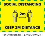 maintain social distancing 2... | Shutterstock .eps vector #1749049424