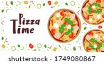 pizza time banner with tasty... | Shutterstock .eps vector #1749080867