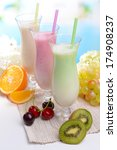 milk shakes with fruits on... | Shutterstock . vector #174908237