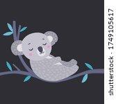 cute koala sleeping on the... | Shutterstock .eps vector #1749105617