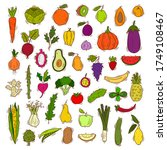 set of fruits and vegetables ... | Shutterstock .eps vector #1749108467