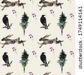 Seamless Pattern With Raven...