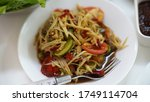 papayas salad  thai food  spicy ... | Shutterstock . vector #1749114704