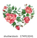 floral abstract heart of roses | Shutterstock .eps vector #174913241