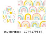 rainbow pattern and lettering...   Shutterstock .eps vector #1749179564