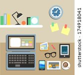 set of office workplace items... | Shutterstock . vector #174918041