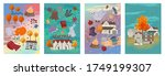 set of autumn greeting cards....   Shutterstock .eps vector #1749199307