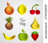 paper fruit set cut out   mix... | Shutterstock .eps vector #174930059