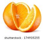 Orange Fruit With Cut Isolated...