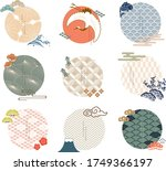 vector set of japanese icon and ... | Shutterstock .eps vector #1749366197
