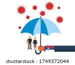old people under the umbrella...   Shutterstock .eps vector #1749372044