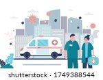 medical workers in uniform....   Shutterstock .eps vector #1749388544