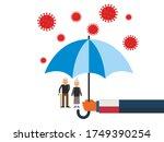 old people under the umbrella...   Shutterstock .eps vector #1749390254