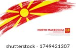 flag of north macedonia country.... | Shutterstock .eps vector #1749421307