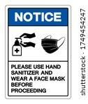 notice please use hand... | Shutterstock .eps vector #1749454247