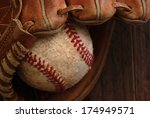 Постер, плакат: Old leather baseball glove