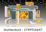 orange exhibition stand design... | Shutterstock .eps vector #1749516647