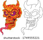 scary red skull on fire with... | Shutterstock .eps vector #1749555221