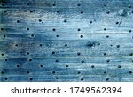 Old Blue Wooden Background Wit...
