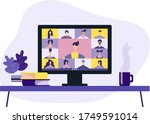 conference video call  working...   Shutterstock .eps vector #1749591014