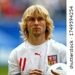 Small photo of Hamburg, GERMANY - June 22, 2006: Pavel Nedved looks on during the 2006 FIFA World Cup Germany Czech Republic v Italy at the Hamburg stadium.