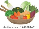 many vegetables in the basket | Shutterstock .eps vector #1749601661