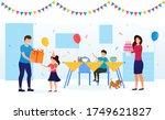 kid birthday celebration with... | Shutterstock .eps vector #1749621827