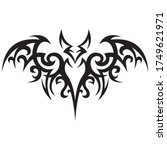 bat painted in black with... | Shutterstock .eps vector #1749621971