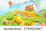 sweet candy landscape. 3d... | Shutterstock .eps vector #1749623867