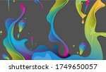 spilled liquid paint  isolated... | Shutterstock .eps vector #1749650057