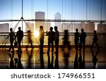 Stock photo group of business people in office building 174966551