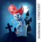 horror clown sitting on grave... | Shutterstock .eps vector #1749671537