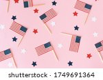 Many Little American Flags And...