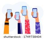 hands holding smartphone ... | Shutterstock .eps vector #1749738404