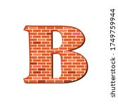 Letter B From Red Brick Wall...