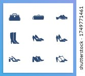 shoes icon set and doctor bag...