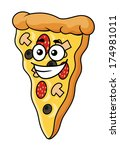 cute slice of cartoon pizza...   Shutterstock .eps vector #174981011